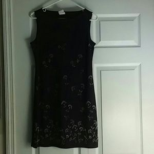 Medium purple slip dress with embroidered flowers